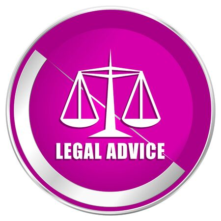 Legal advice web design violet silver metallic border internet icon.