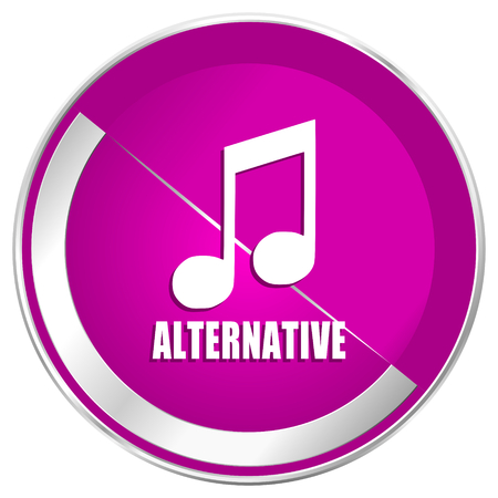 Alternative music web design violet silver metallic border internet icon.