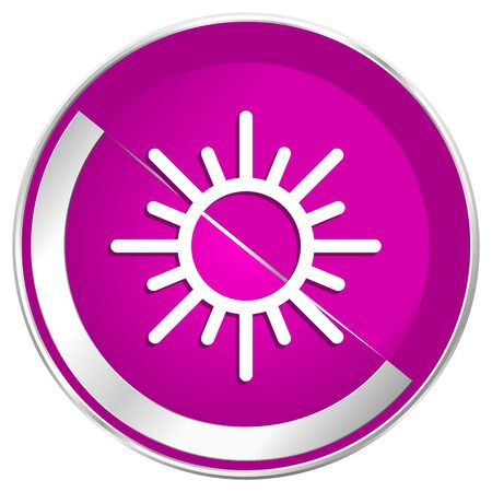 Sun web design violet silver metallic border internet icon.