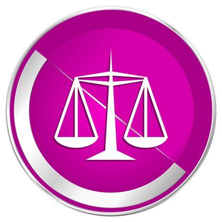 Justice web design violet silver metallic border internet icon.
