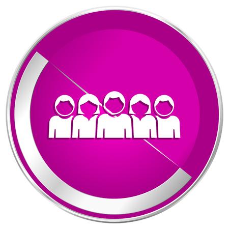 chrome man: People web design violet silver metallic border internet icon. Stock Photo