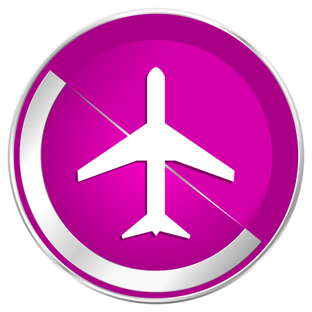 Plane web design violet silver metallic border internet icon.