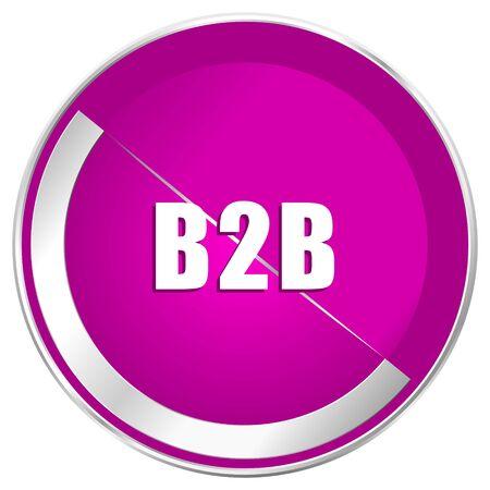 international internet: B2b web design violet silver metallic border internet icon. Stock Photo