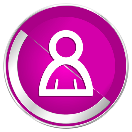 Person web design violet silver metallic border internet icon. Stock Photo