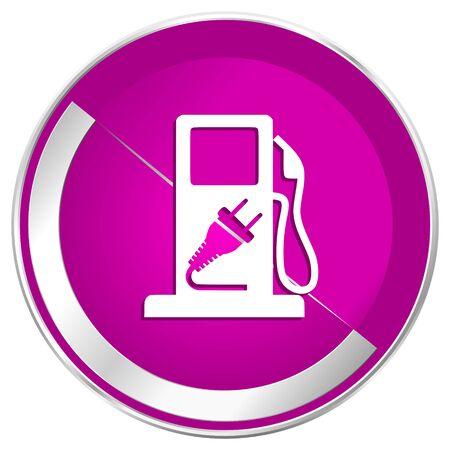 Fuel web design violet silver metallic border internet icon.