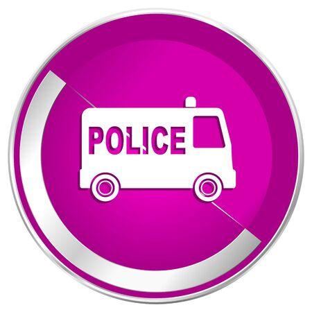 patrolman: Police web design violet silver metallic border internet icon.
