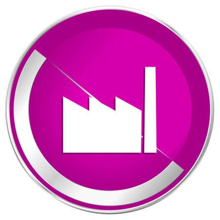 Factory web design violet silver metallic border internet icon.