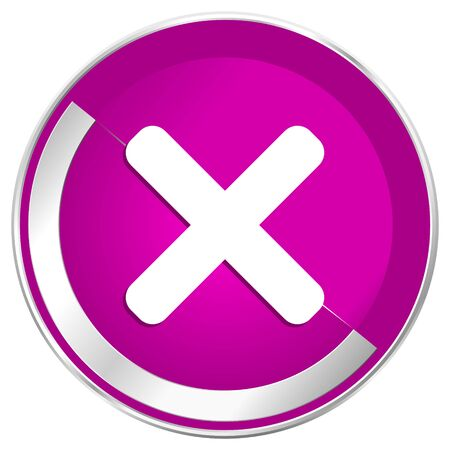 Cancel web design violet silver metallic border internet icon.