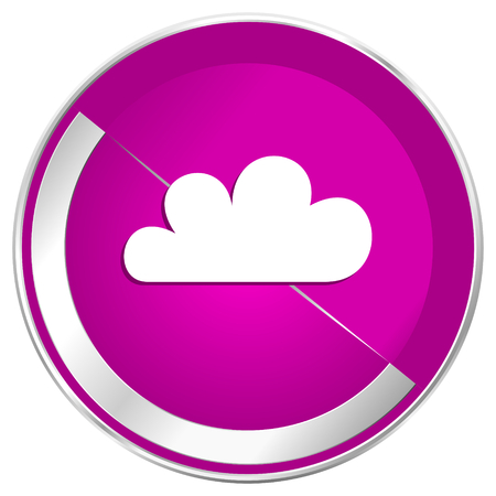 Cloud web design violet silver metallic border internet icon. Stock Photo