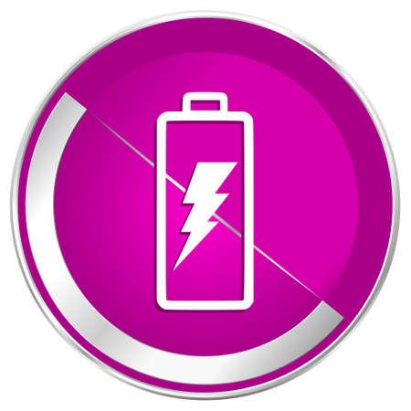 Battery web design violet silver metallic border internet icon.