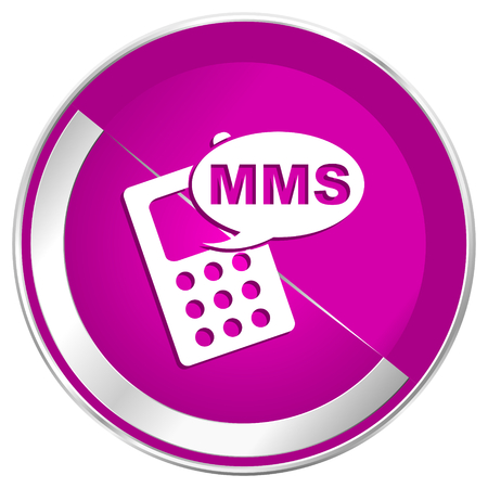 mobile website: Mms web design violet silver metallic border internet icon. Stock Photo