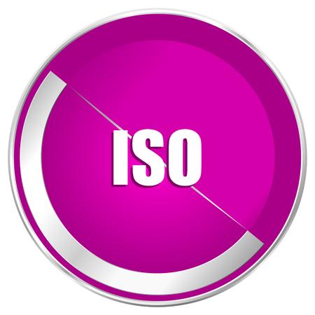 ISO web design violet silver metallic border internet icon.