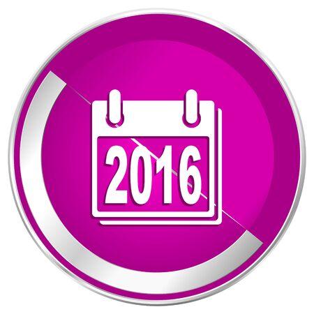 next year: New year 2016 web design violet silver metallic border internet icon.