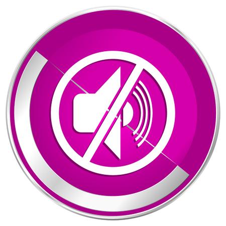 dumb: Mute web design violet silver metallic border internet icon.