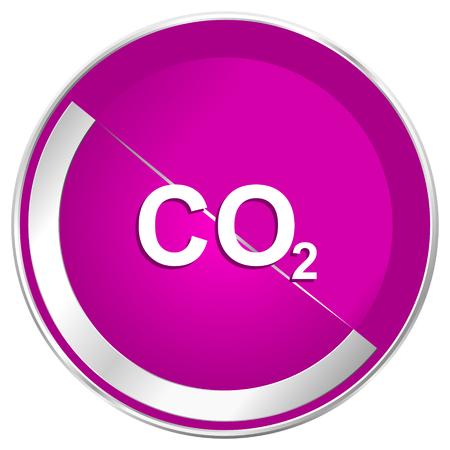 Carbon dioxide web design violet silver metallic border internet icon.
