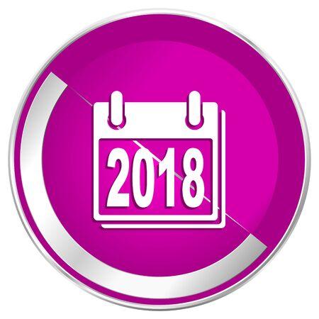 next year: New year 2018 web design violet silver metallic border internet icon. Stock Photo