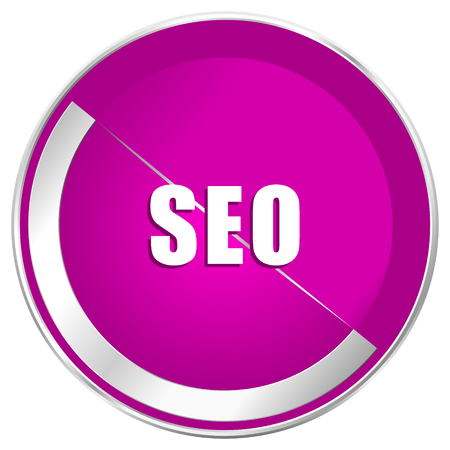 Seo web design violet silver metallic border internet icon.