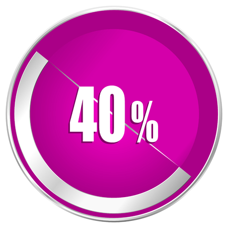 40 percent web design violet silver metallic border internet icon.