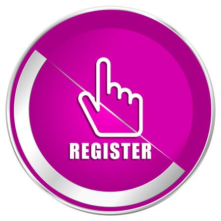Register web design violet silver metallic border internet icon.