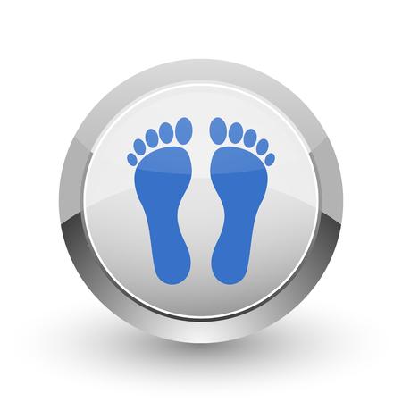 massage symbol: Foot chrome border web and smartphone apps design round glossy icon. Stock Photo