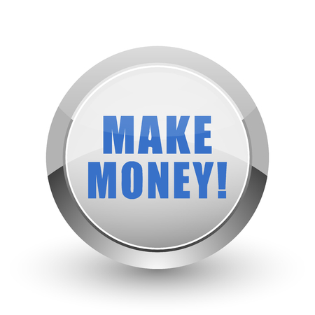 earn money: Make money chrome border web and smartphone apps design round glossy icon. Stock Photo