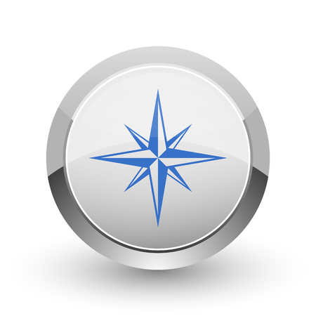 Compass chrome border web and smartphone apps design round glossy icon. Stock Photo