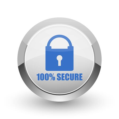 trustworthy: Secure chrome border web and smartphone apps design round glossy icon.