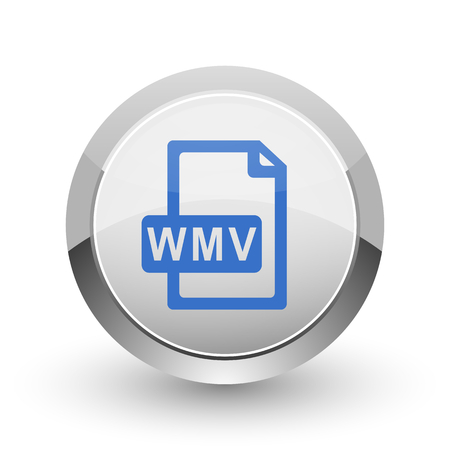 wmv: Wmv file chrome border web and smartphone apps design round glossy icon.