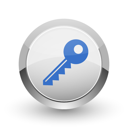 modern house: Key chrome border web and smartphone apps design round glossy icon.
