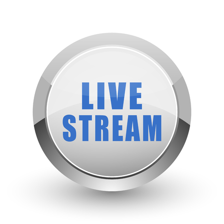 Live stream chrome border web and smartphone apps design round glossy icon.