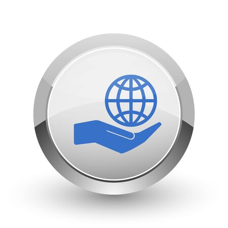 globe logo: Hand protect the earth chrome border web and smartphone apps design round glossy icon.