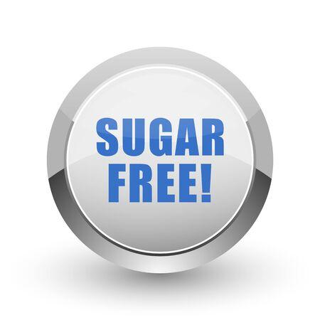 sweetener: Sugar free chrome border web and smartphone apps design round glossy icon.