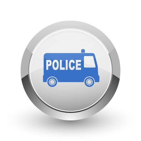 patrolman: Police chrome border web and smartphone apps design round glossy icon.