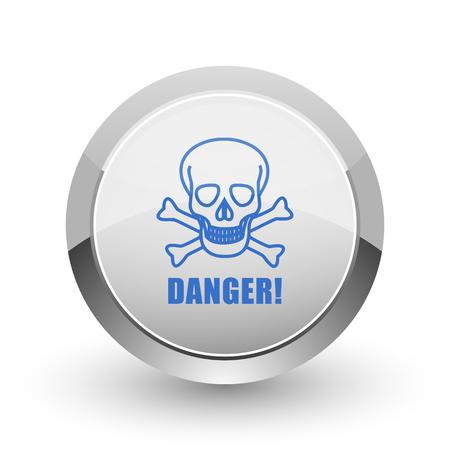 poison: Danger skull chrome border web and smartphone apps design round glossy icon. Stock Photo
