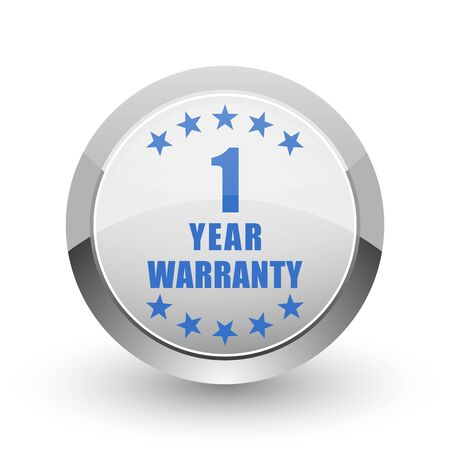 1 year warranty: Warranty guarantee 1 year chrome border web and smartphone apps design round glossy icon. Stock Photo