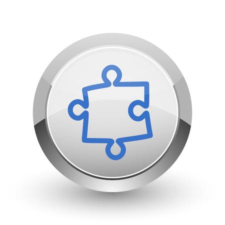 plugin: Puzzle chrome border web and smartphone apps design round glossy icon.