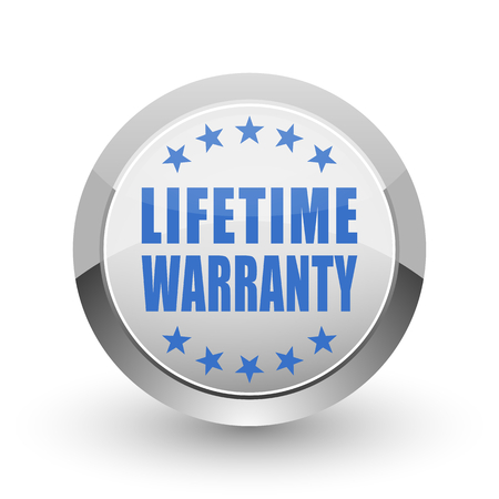 best security: Lifetime warranty chrome border web and smartphone apps design round glossy icon.