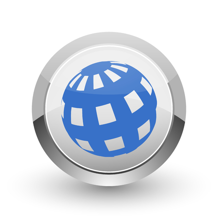 parallels: Earth chrome border web and smartphone apps design round glossy icon.