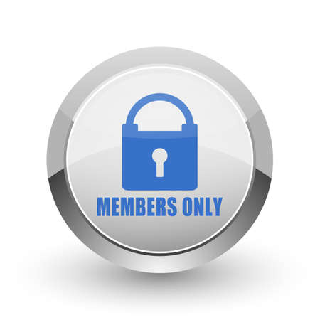 celebrities: Members only chrome border web and smartphone apps design round glossy icon.