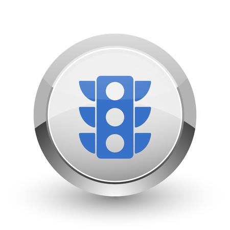 regulate: Traffic lights chrome border web and smartphone apps design round glossy icon.