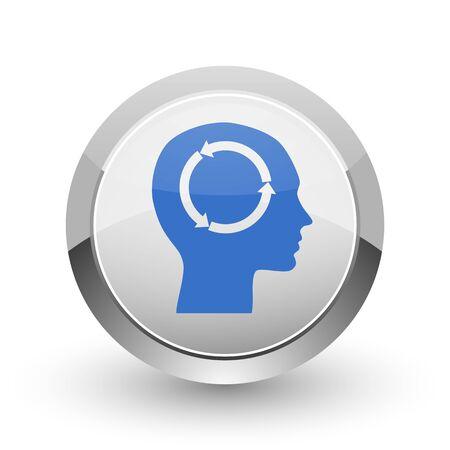 brain illustration: Head chrome border web and smartphone apps design round glossy icon.
