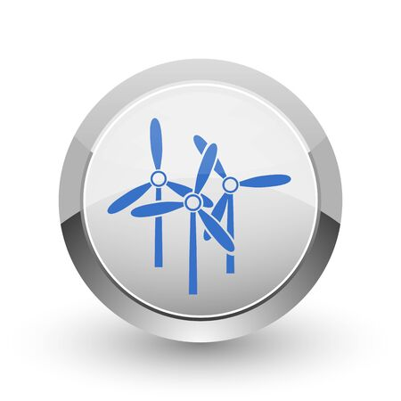 steel mill: Windmill chrome border web and smartphone apps design round glossy icon.