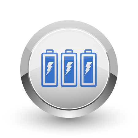 accuse: Battery chrome border web and smartphone apps design round glossy icon.