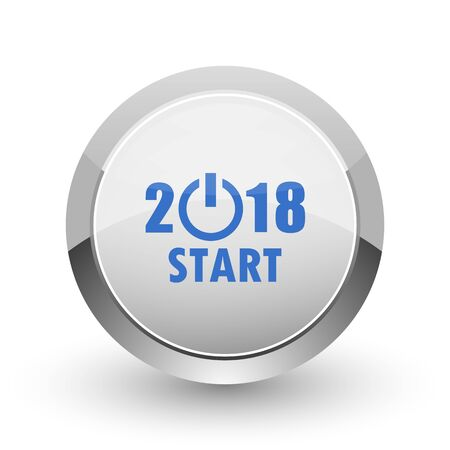 next year: New year 2018 chrome border web and smartphone apps design round glossy icon.