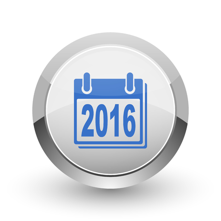 next year: New year 2016 chrome border web and smartphone apps design round glossy icon.