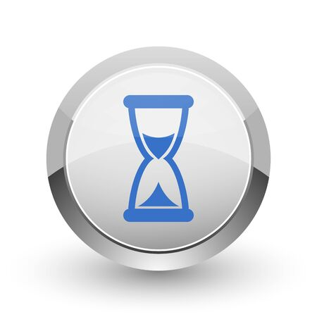 calendar icon: Time chrome border web and smartphone apps design round glossy icon.