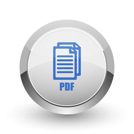 documentation: Pdf chrome border web and smartphone apps design round glossy icon.,
