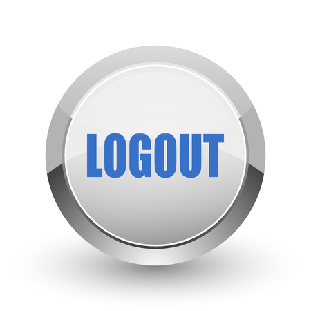 Log Out: Logout chrome border web and smartphone apps design round glossy icon.