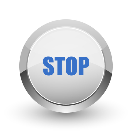 Stop chrome border web and smartphone apps design round glossy icon.