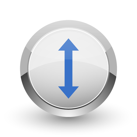 right choice: Arrow chrome border web and smartphone apps design round glossy icon.